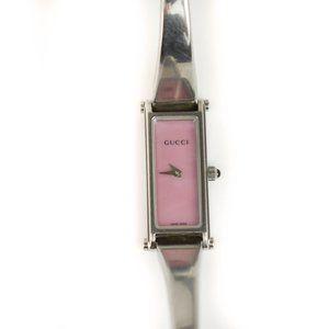 GUCCI 1500L: Silver & Pink Logo Horsebit Watch ny